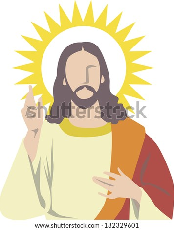 Illustration of Jesus pointing up - stock photo