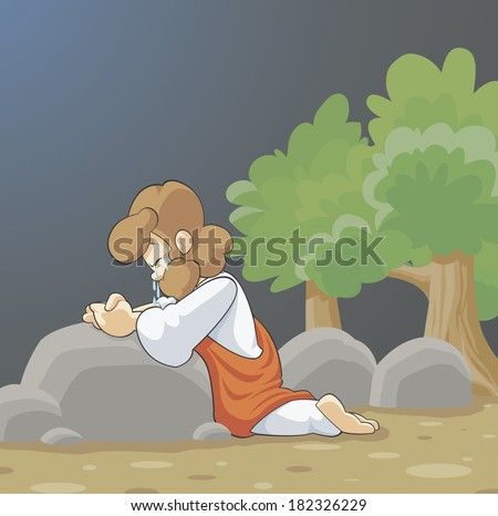 Illustration of Jesus praying - stock photo
