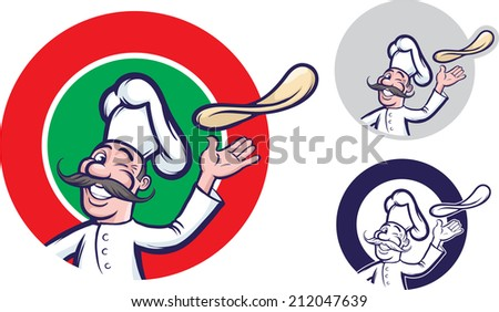 illustration of jolly winking chef tossing dough pizza - stock photo