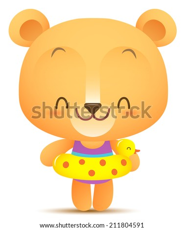 Illustration of Kawaii Bear with swimming balloon - stock photo