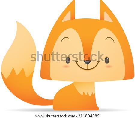 Illustration of Kawaii Cute Fox sitting - stock photo