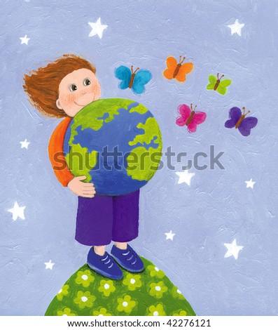 Illustration of kid holding globe - stock photo