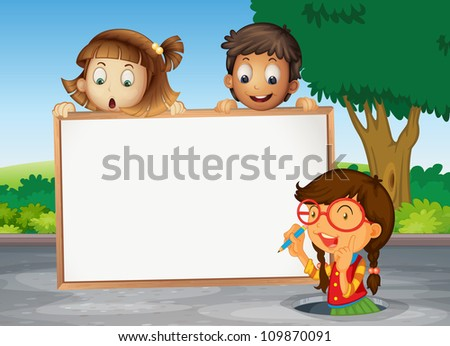 illustration of kids and white board on the road - stock photo