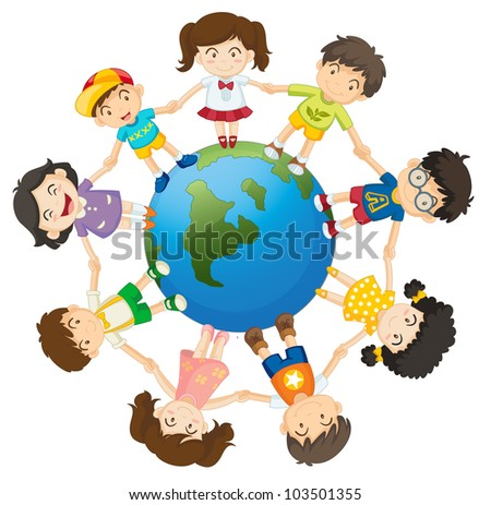 Illustration of kids around the Earth - EPS VECTOR format also available in my portfolio. - stock photo