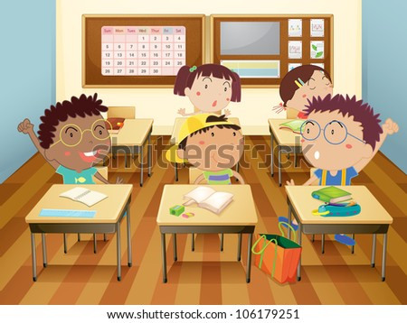 Illustration of kids in classroom