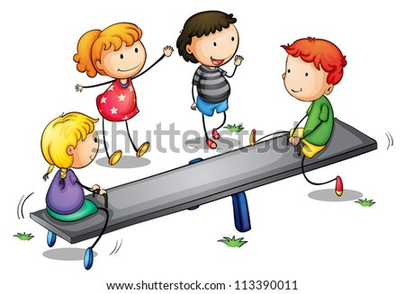 Illustration of kids on a seesaw - stock photo