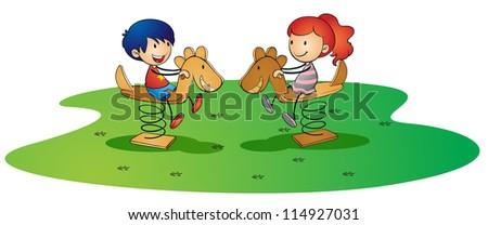 illustration of kids on a white background - stock photo
