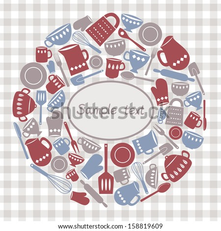 Illustration of kitchen utensils and cutlery - stock photo