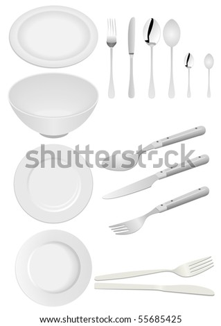 Illustration of kitchen ware isolated on white