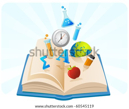 Illustration of knowledge symbol coming out from a book. - stock photo