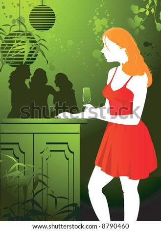 Illustration of lady standing alone in a party  in floral background