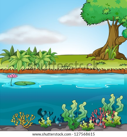 Illustration of land and aquatic environment in a colorful background. - stock photo