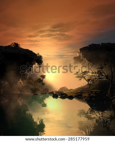 illustration of landscape at sunset with two large rocks and vegetation, where the lake reflects the beauty of the sky - stock photo