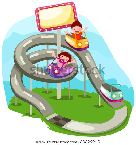 illustration of landscape rollercoaster ride - stock photo