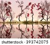 Illustration of landscape with fancy concept where we observe some red trees reflected in water and a very pleasant atmosphere. - stock vector