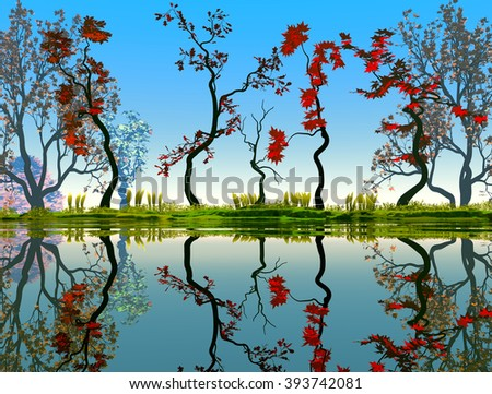 Illustration of landscape with fancy concept where we observe some red trees reflected in water and a very pleasant atmosphere. - stock photo