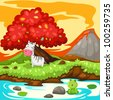 illustration of landscape zebra in fantasy jungle - stock vector