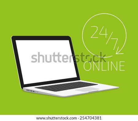illustration of Laptop isometric template on green background. Online shopping 24. Text outlined. Free font used - Exo 2 and Open Sans - stock photo