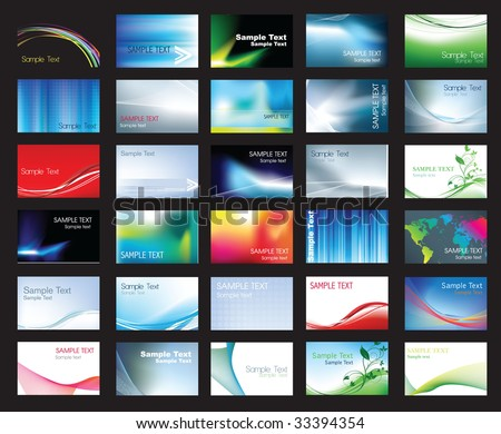 Illustration of large set of coloured business card templates