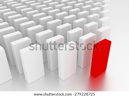 Illustration of leader leads the team forward. Red and white blocks - stock photo