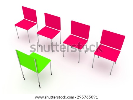Illustration of leadership in the company. One green and four red chair - stock photo