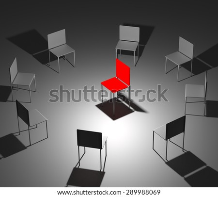 Illustration of leadership in the company. One red and eight grey chairs