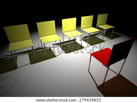 Illustration of leadership in the company. One red and four blue chair.