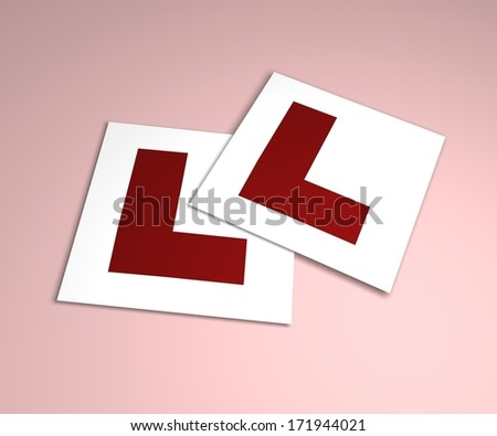 Illustration of Learner plates on a pink background - stock photo