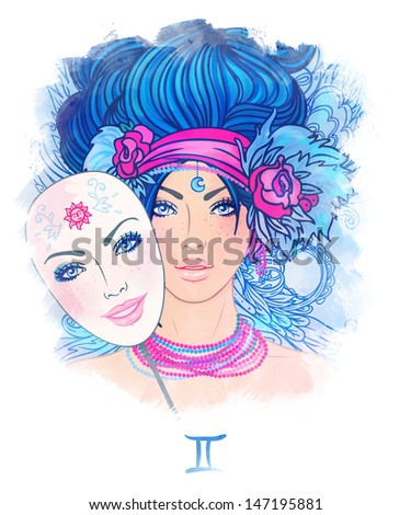 Illustration of leo zodiac sign as a beautiful girl. Watercolor illustration.  - stock photo