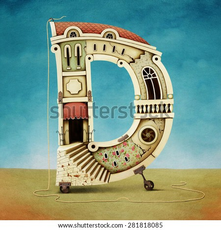 Illustration of letter in form of buildings.  - stock photo