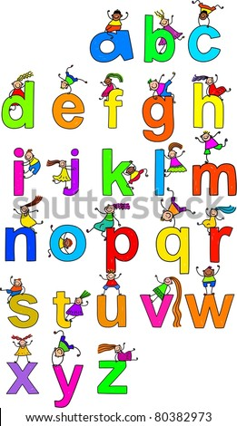 Illustration of letters of the alphabet in lowercase form with little boys and girls climbing over each character. - stock photo
