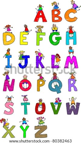 Illustration of letters of the alphabet in uppercase form with little boys and girls climbing over each character. - stock photo