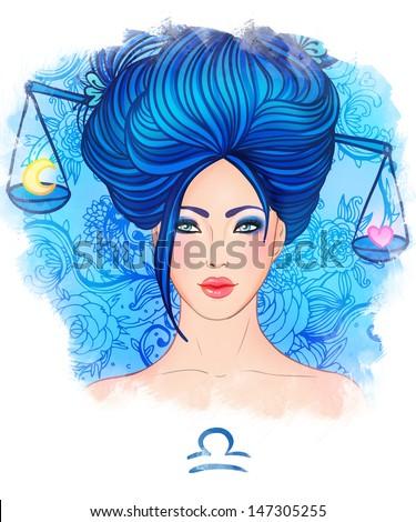 Illustration of libra zodiac sign as a beautiful girl. Watercolor illustration.  - stock photo