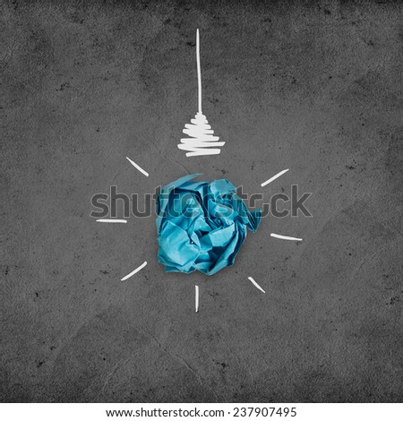 Illustration of lightbulb with cracked paper inside. Inspiration concept background - stock photo