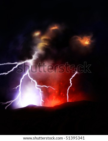 illustration of lightning bolts emitting from a volcanic ash cloud. Eyjafjallajokull Glacier, Iceland. - stock photo