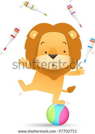 Illustration of Lino the Lion juggling. - stock photo