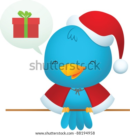 Illustration of Little Blue Bird wearing Santa uniform - stock photo