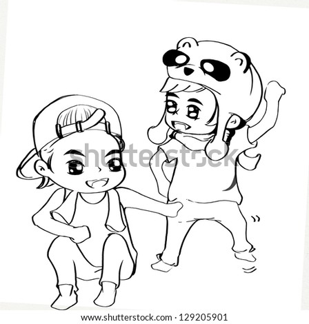 illustration of little boy - stock photo