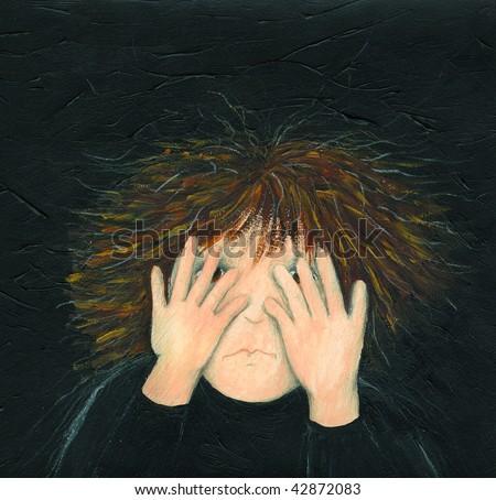 Illustration of little boy afraid - stock photo