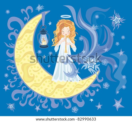 Illustration of little sweet angel with Horn - stock photo