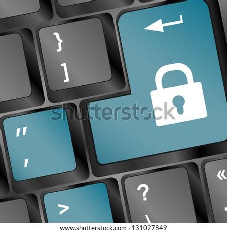 illustration of lock concept button on keyboard, raster - stock photo