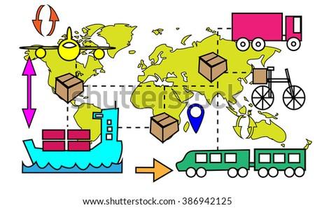Illustration of logistics transport movements with world map - stock photo