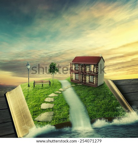 Illustration of magic opened book with family home, covered with grass, tree stoned way on woody floor. Fantasy world imaginary view. Tree of life, right way, real estate concept. Original screensaver - stock photo