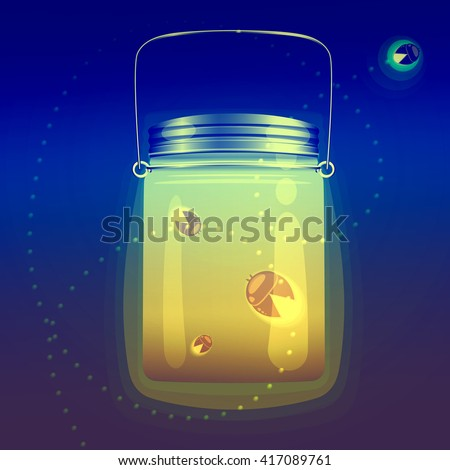 Illustration Of Magical Glass Jar With Fireflies Bugs This Is Used In The Design For