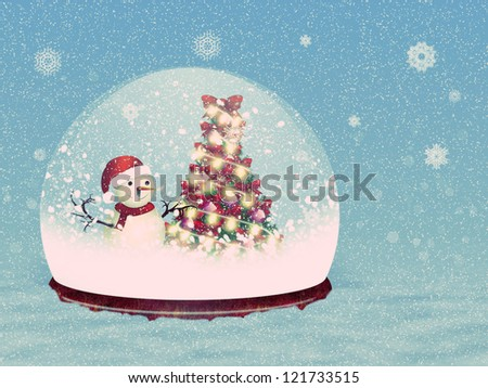 Illustration of magical snow globe with snowman on snow background. - stock photo