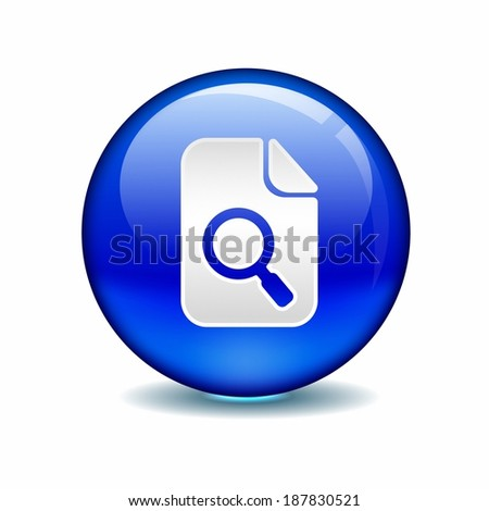 Illustration of magnifying glass symbol in a blue circle against white background