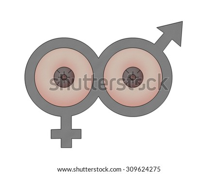 illustration of male and female symbol for research on breast cancer - stock photo