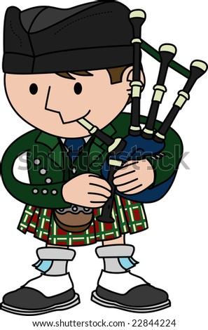Illustration of male Scottish bagpiper playing bagpipes - stock photo