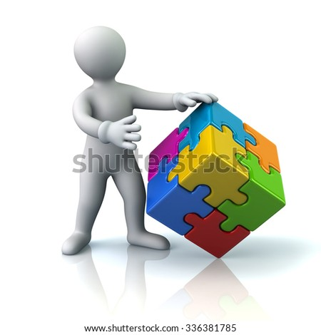 Illustration of man and colorful 3d puzzle cube - stock photo