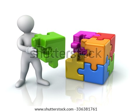 Illustration of man and colorful 3d puzzle cube with a missing piece  - stock photo